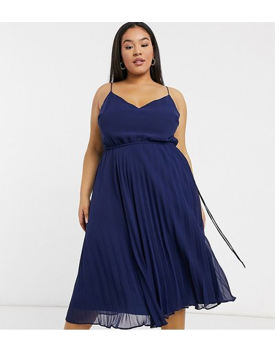 Blu navy donna Vestito midi a pieghe blu navy con spalline e coulisse in vita - ASOS DESIGN Curve