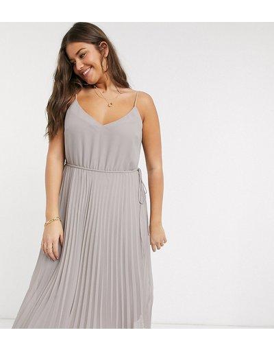 Eleganti pantaloni Grigio donna Vestito midi a pieghe grigio con spalline e coulisse in vita - ASOS DESIGN Curve