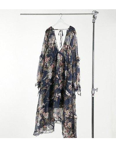 Blu navy donna Vestito midi arricciato a balze blu navy con stampa a fiori e finiture con laccetti - ASOS DESIGN Curve