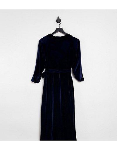 Blu navy donna Vestito midi avvolgente in velluto, colore blu navy - ASOS DESIGN Curve