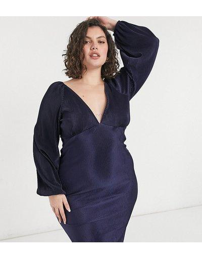 Blu navy donna Vestito midi blu navy plissé con maniche a palloncino - ASOS DESIGN Curve