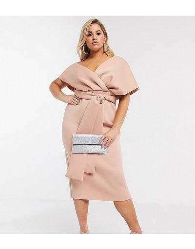 Beige donna Vestito midi con spalle scivolate allacciato sul retro colore rosa - ASOS DESIGN Curve - Beige