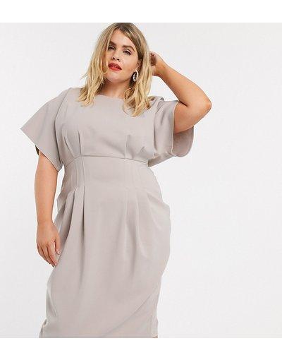 Grigio donna Vestito midi stretto in vita grigio - ASOS DESIGN Curve