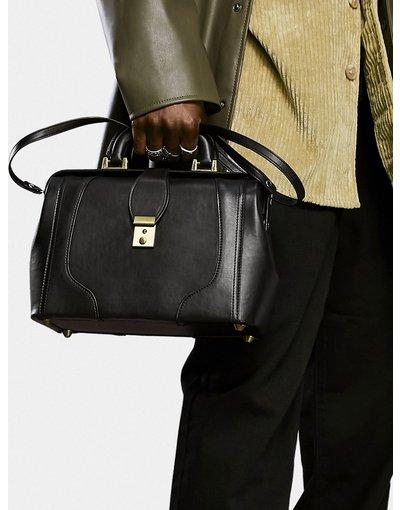 Borsa Nero uomo Doctor bag in pelle sintetica nera con finiture oro - ASOS DESIGN - Nero
