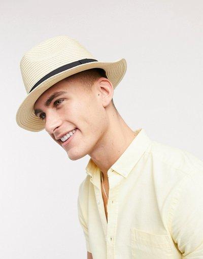 Cappello Beige uomo Fedora stile festival beige con fascia - ASOS DESIGN