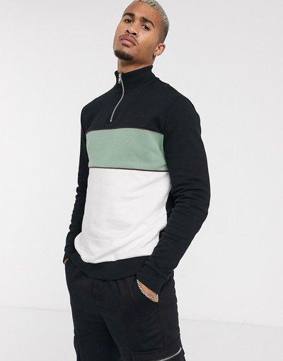 Felpa Nero uomo Felpa a pannelli color block nero, bianco e verde sul petto con collo sportivo e zip corta - ASOS DESIGN