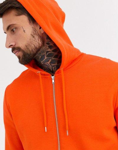 Felpa Arancione uomo Felpa arancione con zip e cappuccio - ASOS DESIGN