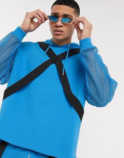Felpa Blu uomo Felpa con cappuccio festival oversize corta blu con cinghie in coordinato - ASOS DESIGN