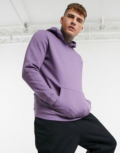 Felpa Viola uomo Felpa con cappuccio lunga viola in tessuto organico - ASOS DESIGN