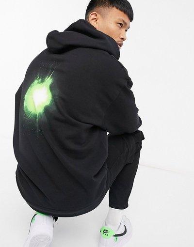 Felpa Nero uomo Felpa con cappuccio oversize nera con grafica di flash e scritta sulle maniche - ASOS DESIGN - Nero