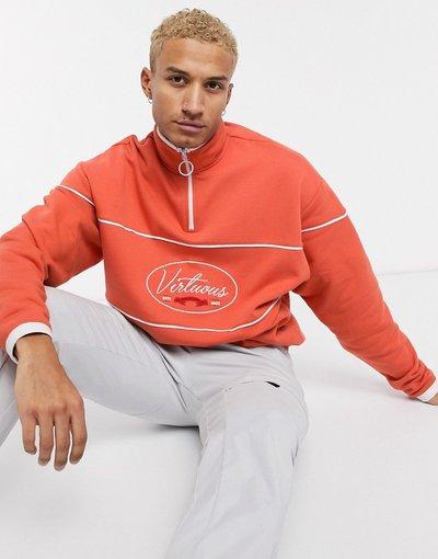 Felpa Rosso uomo Felpa con zip corta arancione con scritta sul petto - ASOS DESIGN - Rosso
