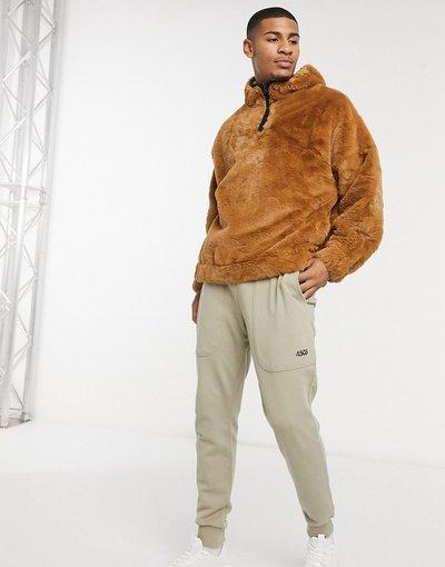 Felpa Marrone uomo Felpa oversize accollata con cappuccio con profili in pelliccia sintetica marrone - ASOS DESIGN