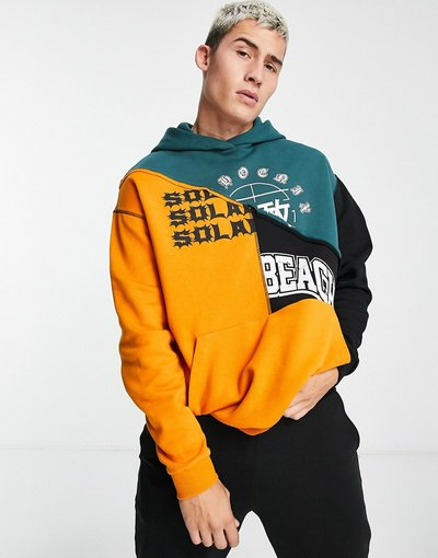 Felpa Multicolore uomo Felpa oversize con cappuccio e stampa stile college color block - ASOS DESIGN - Multicolore