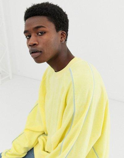 Felpa Giallo uomo Felpa oversize in spugna gialla con profili - ASOS DESIGN - Giallo