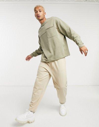 Felpa Verde uomo Felpa oversize in tessuto organico kaki con tasca - ASOS DESIGN - Verde