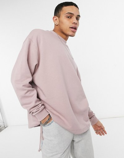 Felpa Rosa uomo Felpa oversize rosa con coulisse sul fondo - ASOS DESIGN