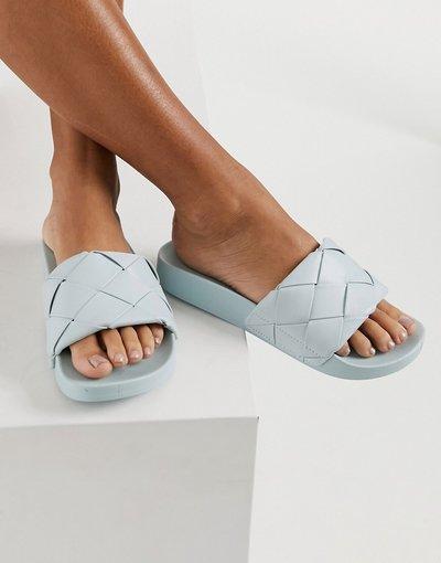 Infradito Blu donna Sliders intrecciate colore azzurro chiaro - ASOS DESIGN - Finley - Blu