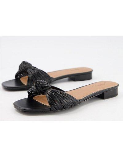 Sandali Nero donna Sabot a sandalo a pianta larga neri con nodo - ASOS DESIGN - Freddie - Nero