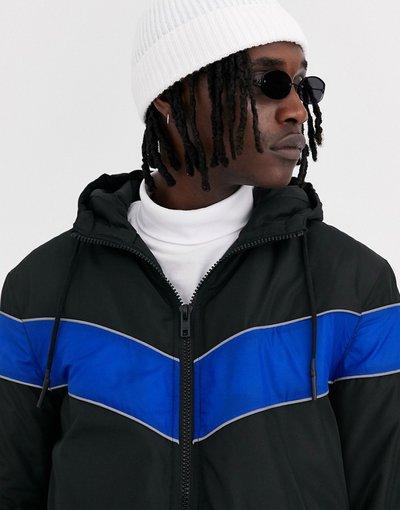 Nero uomo Giacca a vento nera con sezione blu - ASOS DESIGN - Nero