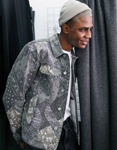 Verde uomo Giacca di jeans con stampa cachemire - ASOS DESIGN - Verde