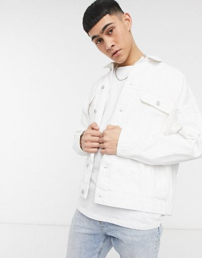 Bianco uomo Giacca di jeans oversize bianca - ASOS DESIGN - Bianco