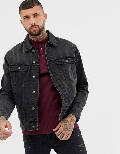 Nero uomo Giacca di jeans oversize nero délavé - ASOS DESIGN