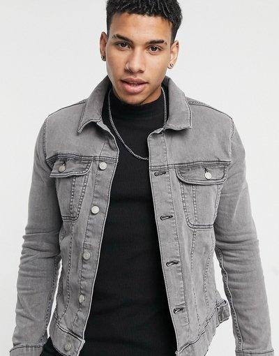 Grigio uomo Giacca di jeans skinny grigia - ASOS DESIGN - Grigio