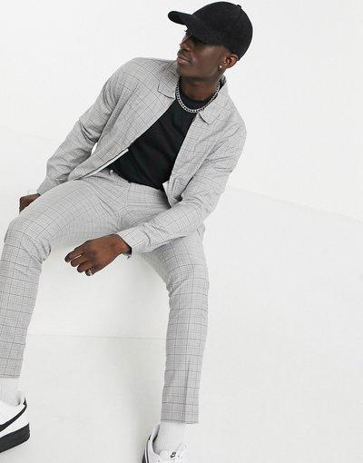 Marrone uomo Giacca harrington elegante a quadri grigio mélange in coordinato - ASOS DESIGN - Marrone