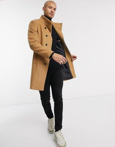 Cuoio uomo Giacca in misto lana cammello con collo a imbuto - ASOS DESIGN - Cuoio