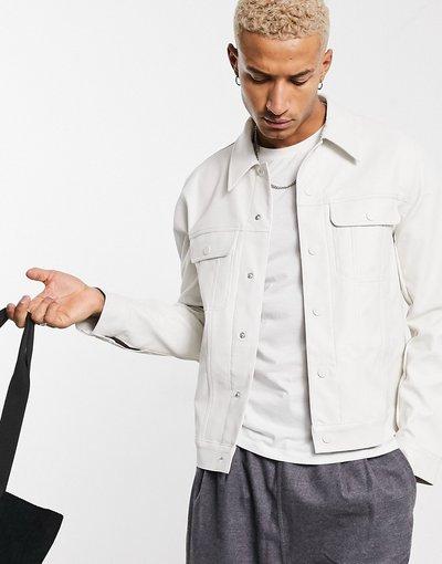Bianco uomo Giacca stile western in pelle sintetica bianca - ASOS DESIGN - Bianco