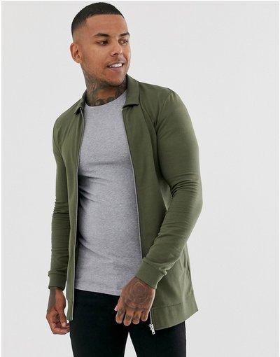 Verde uomo Giubbino lungo attillato in jersey kaki - ASOS DESIGN - Verde