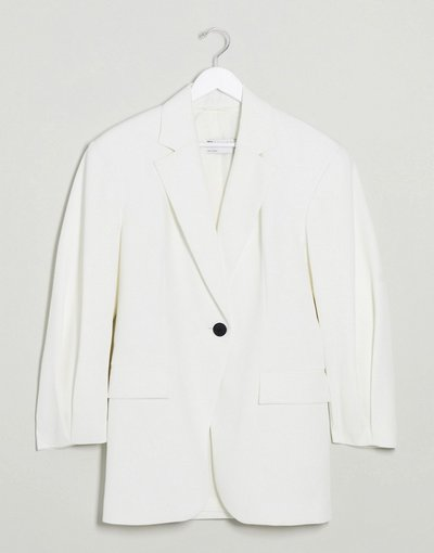 Bianco donna Cappotto con dettagli sulle maniche bianco - ASOS DESIGN - Grandad