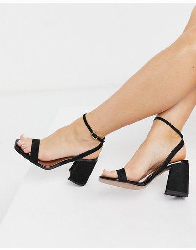 Sandali Nero donna Sandali minimal neri con tacco largo - ASOS DESIGN - Hudson - Nero