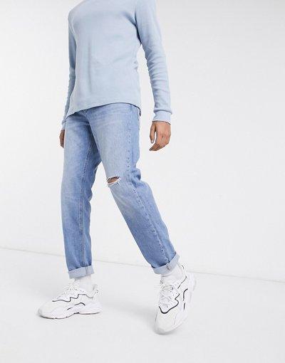 Jeans Blu uomo Jeans affusolati con strappo sul ginocchio lavaggio blu medio chiaro - ASOS DESIGN