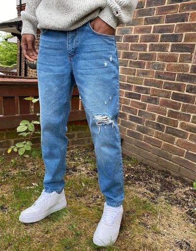 Jeans Blu uomo Jeans classici rigidi blu medio slavato con strappi - ASOS DESIGN