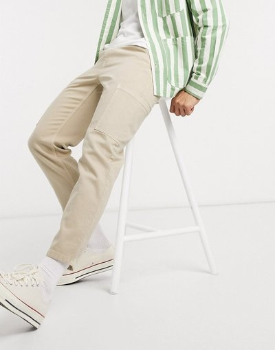 Jeans Pietra uomo Jeans classici rigidi grigio pietra con tasche cargo - ASOS DESIGN