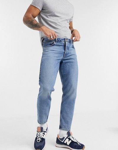 Jeans Blu uomo Jeans classici rigidi in tessuto organico lavaggio blu medio - ASOS DESIGN