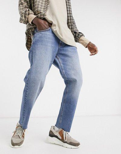 Jeans Blu uomo Jeans classici rigidi lavaggio blu medio vintage con fondo grezzo - ASOS DESIGN