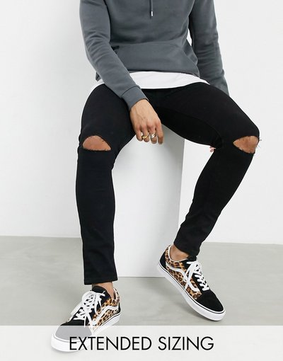 Jeans Nero uomo Jeans effetto spray on in denim power stretch nero con strappi alle ginocchia - ASOS DESIGN