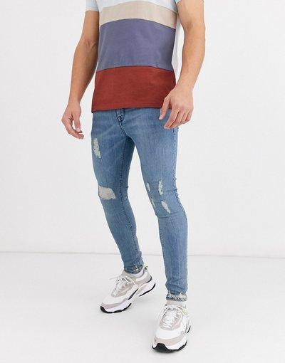 Jeans Blu uomo Jeans power stretch spray on lavaggio chiaro vintage con strappi - ASOS DESIGN - Blu