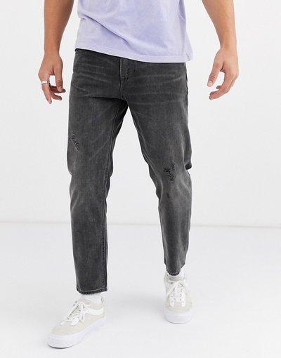 Jeans Nero uomo Jeans rigidi classici nero slavato con abrasioni - ASOS DESIGN