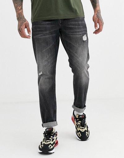 Jeans Nero uomo Jeans rigidi slim nero slavato con abrasioni - ASOS DESIGN