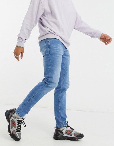 Jeans Blu uomo Jeans skinny a vita bassa lavaggio blu stile anni'70 - ASOS DESIGN