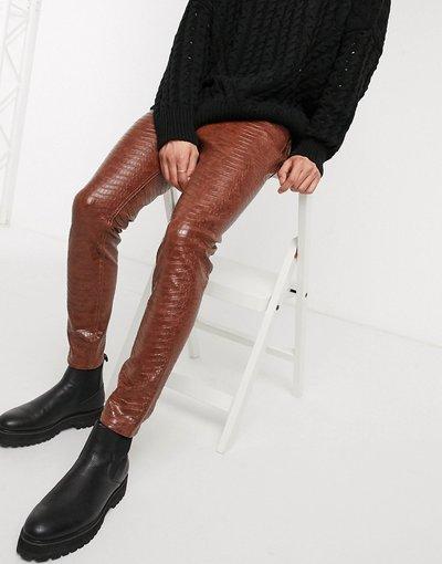Jeans Marrone uomo Jeans skinny alla caviglia in ecopelle coccodrillo - ASOS DESIGN - Marrone