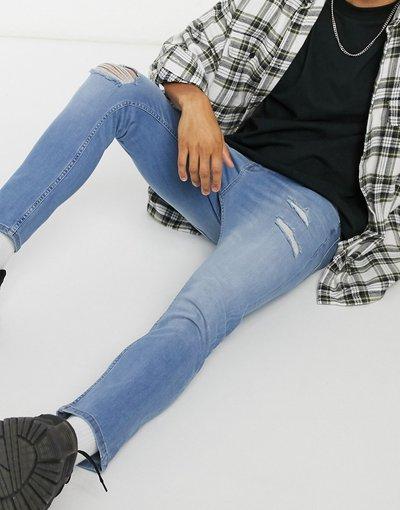 Jeans Blu uomo Jeans skinny corti lavaggio blu medio con strappi - ASOS DESIGN
