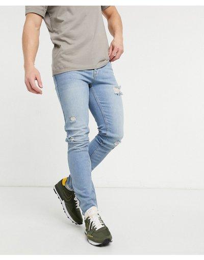 Jeans Blu uomo Jeans skinny lavaggio chiaro vintage con strappi - ASOS DESIGN - Blu
