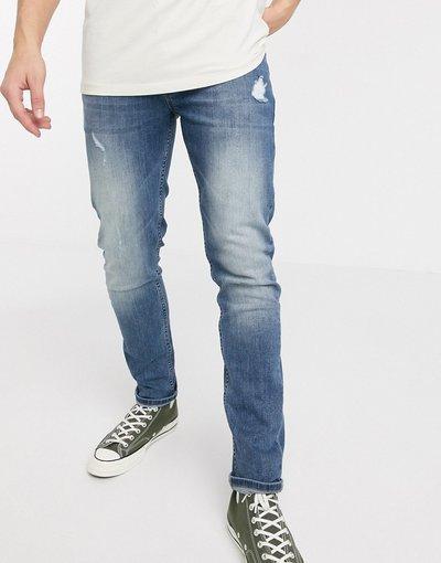 Jeans Blu uomo Jeans skinny lavaggio medio con abrasioni - ASOS DESIGN - Blu