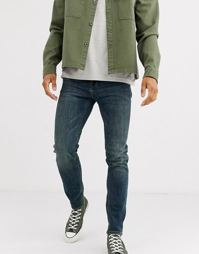 Jeans Blu uomo Jeans skinny lavaggio scuro vintage - ASOS DESIGN - Blu