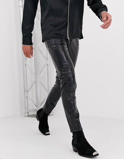 Jeans Nero uomo Jeans skinny neri pitonati iridescenti - ASOS DESIGN - Nero