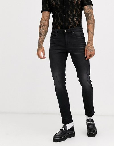 Jeans Nero uomo Jeans slim da 12,5 oz nero slavato - ASOS DESIGN